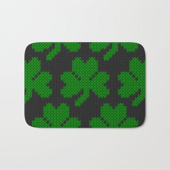 Shamrock pattern - black, green Bath Mat