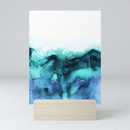 Abstract teal purple watercolor Mini Art Print