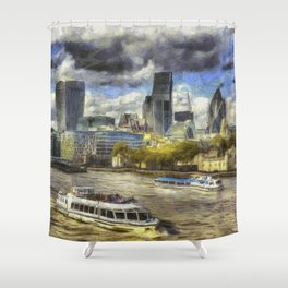 The River Thames And City Art Shower Curtain