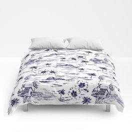 Tropical Island Vintage Hawaii Summer Pattern in Navy Blue Comforters