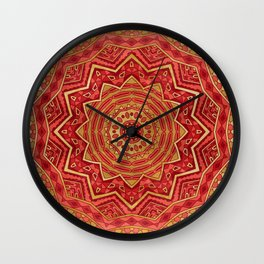 Ruby Red Mandala Wall Clock