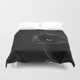 Black cat in the dark Duvet Cover