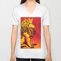 the lion king V-neck T-shirts featuring Lion King by RICHMOND ART STUDIO