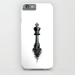 Farewell to the King / 3D render of chess king breaking apart iPhone Case