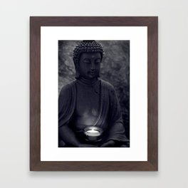 Buddha in the dark Framed Art Print