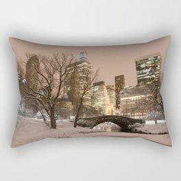 NYC - Gapstow Bridge, Central Park, Snow Rectangular Pillow