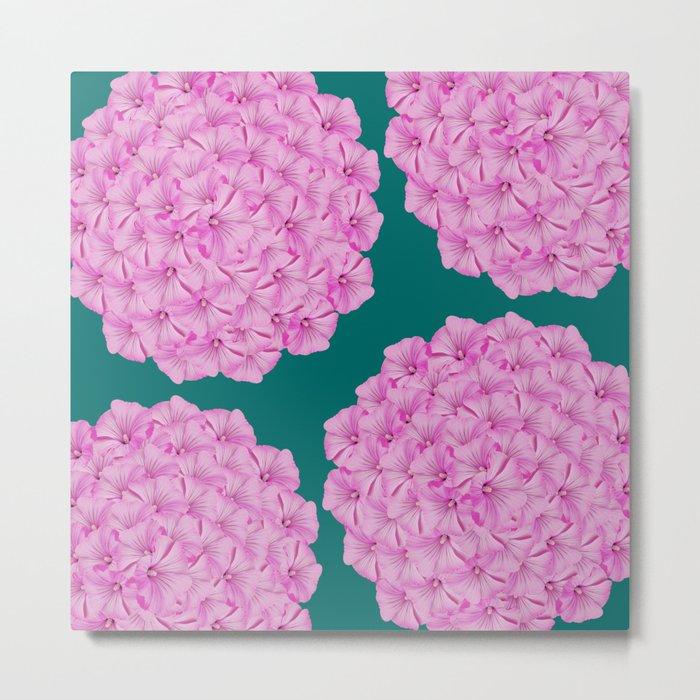 Flowerpower - Pink Flower Balls On A Dark Green Background - #society6 Metal Print