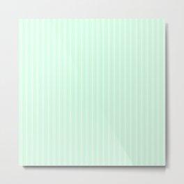 White Matress Ticking Stripes on Soft Summermint Green Metal Print
