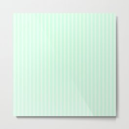 White Matress Ticking Stripes on Soft Summermint Green Metal Print