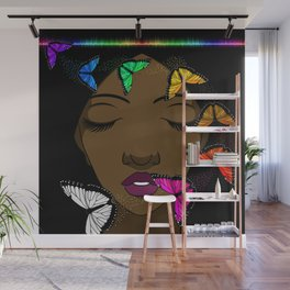 Portrait of a Young African American Woman with Butterflies Wall Mural