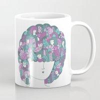 hair Mugs featuring Hair by Regina Rivas Bigordá