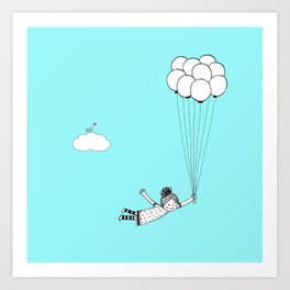 Hand Drawn Girl Flying With Balloons Art Print