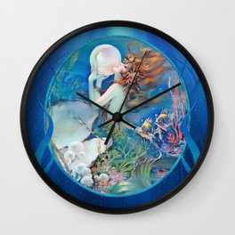 Sensual Art Deco Pearl Mermaid Wall Clock