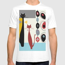 Mid-Century Modern Art Cats T-shirt
