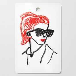 sunglasses and red hair Cutting Board