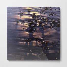 Beach Pebbles on the Sand at Sunset Metal Print