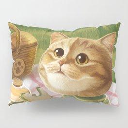 A cat is having a picnic Pillow Sham