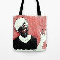 tokyo ghoul Tote Bags featuring Kaneki - Tokyo Ghoul by Kelly Katastrophe