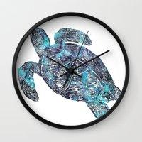 sea turtle Wall Clocks featuring Sea Turtle by LebensART