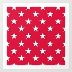 Stars (White/Crimson) Art Print