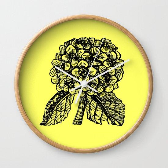 Yellow Hydrangea Wall Clock