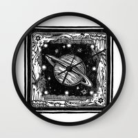 saturn Wall Clocks featuring Saturn by Ouizi - Los Angeles