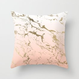 Pink blush white ombre gradient gold marble pattern Throw Pillow