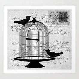 Gothic Bird cage | Goth aeshetics | Birds | Cage | Gothic vintage Art Print