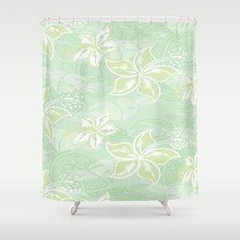 Green Watercolor Hibiscus Jungle Print Shower Curtain
