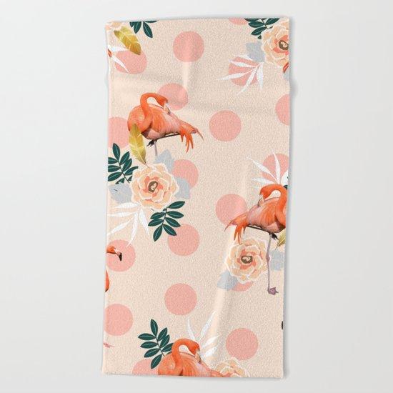 Flamingo Jazz #society6 #decor #pattern Beach Towel