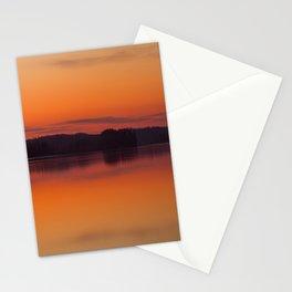 Evening Lakescape Orange Sunset Sky Reflection #decor #society6 #buyart Stationery Cards