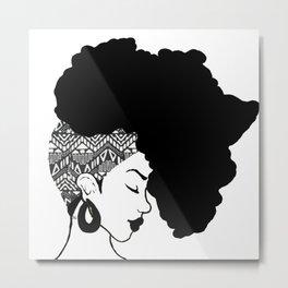 Fro African W&B Metal Print