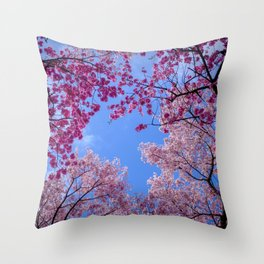 Cherry blossom explosion Throw Pillow