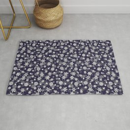 Festive Eclipse Blue and White Christmas Holiday Snowflakes Rug