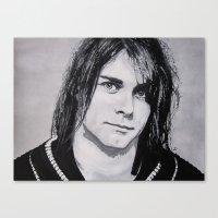 kurt cobain Canvas Prints featuring Cobain Kurt Portrait. by Dioptri Art