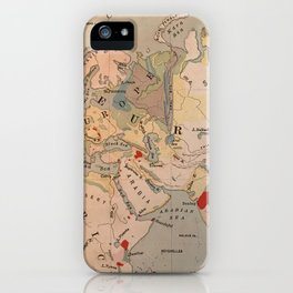 Europe, Africa, India vintage map 1800s iPhone Case