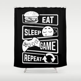 Eat Sleep Game Repeat | Video Game Console Gaming Shower Curtain