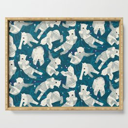 arctic polar bears blue Serving Tray