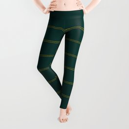 Handmade Farmhouse Stripes in Forest Pine Green and Gold, Vintage Organic Bohemian Pattern, Linen Texture Leggings