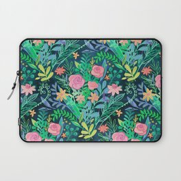 Roses + Green Messy Floral Posie Laptop Sleeve
