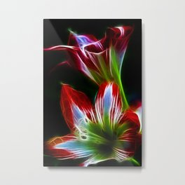 Red and green fractal flower Metal Print