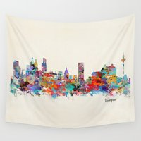 liverpool Wall Tapestries featuring liverpool city skyline by bri.buckley