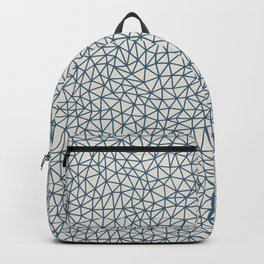 Blue Abstract Triangle Shape Pattern on Linen White - 2020 Color of the Year Chinese Porcelain Backpack