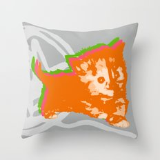 Here Kitty, Kitty in Orange/Pink/Green Throw Pillow