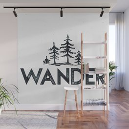 WANDER Forest Trees Black and White Wall Mural