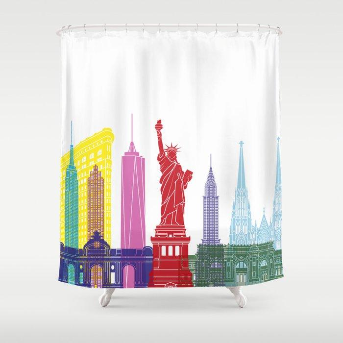 New York Skyline Pop Shower Curtain