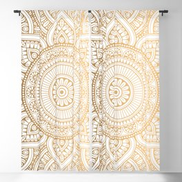 Gold Mandala Pattern Illustration With White Shimmer Blackout Curtain
