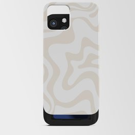 Liquid Swirl Abstract Pattern in Pale Beige and White iPhone Card Case