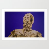 c3po Art Prints featuring C3PO by cocksoupart
