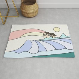 Country landscape drawing Rug